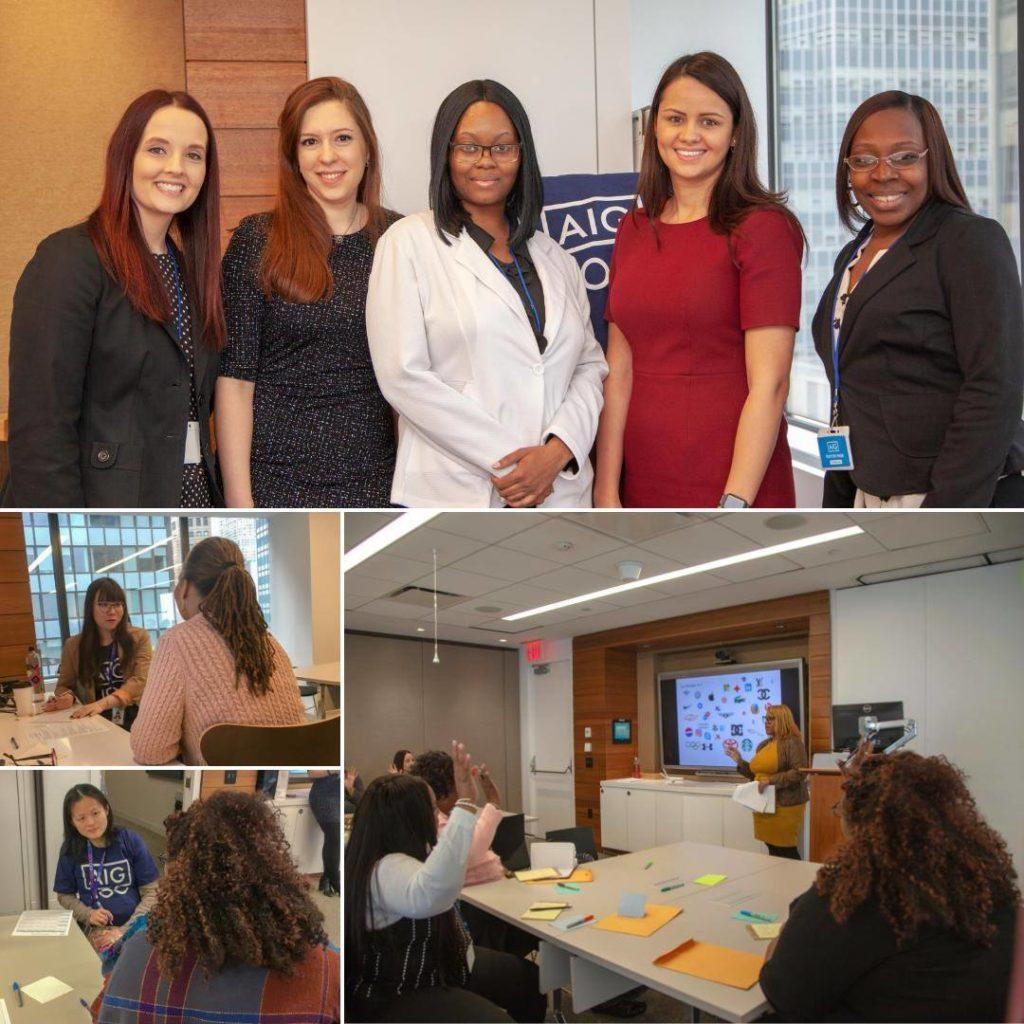 Photo collage featuring women participating in a corporate day with the First Step Job Training Program