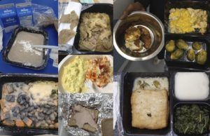 A collage of photos of spoiled or unappetizing food served at shelters
